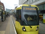 Chorlton Metrolink tram at Market Street in Manchester