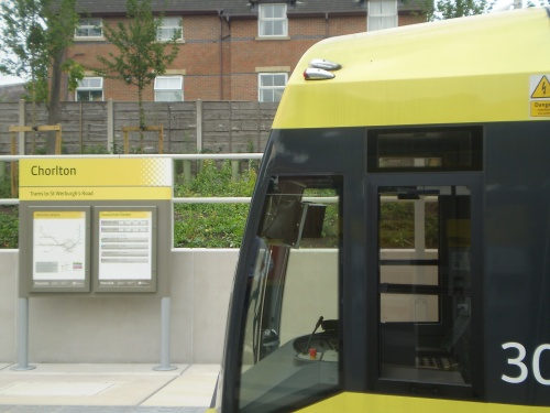 Tram at Chorlton Metrolink station