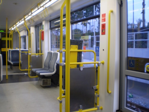 Inside Metrolink tram at Firswood station