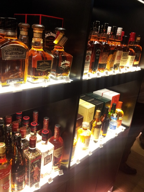 Shelves of whiskey bottles
