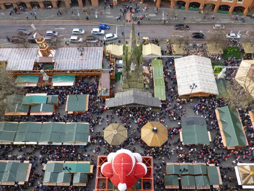 View from clock tower into Manchester Christmas Markets