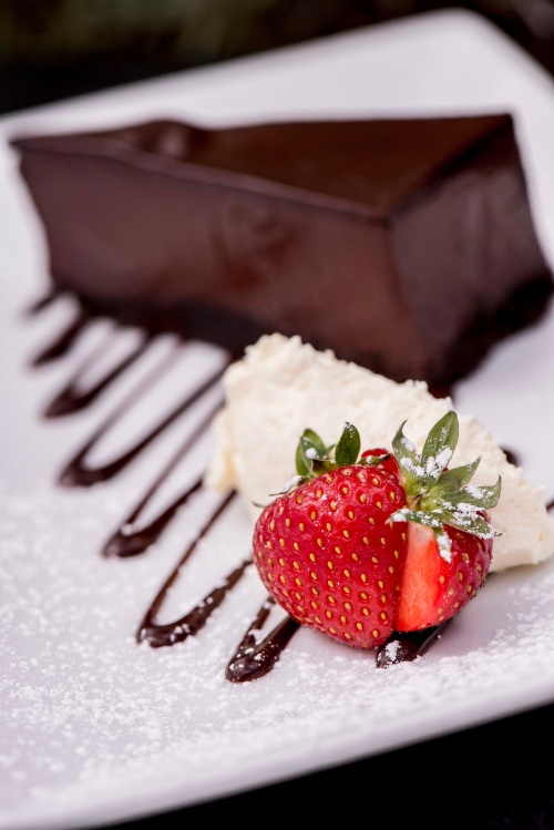 Chocolate Truffle Cake with strawberries and cream