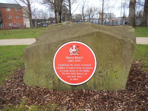 The Henry Royce plaque at Hulme Park
