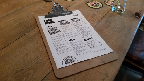 The Brewski bar-restaurant's food menu