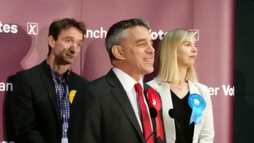 Jeff Smith's Manchester Withington victory speech with John Leech and Sarah Heald in the background
