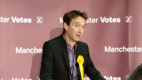 The Liberal Democrats' John Leech concedes defeat in the Manchester Withington constituency