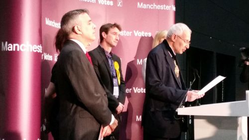 Labour's Jeff Smith and the Liberal Democrats' John Leech await the poll results in Manchester Withington