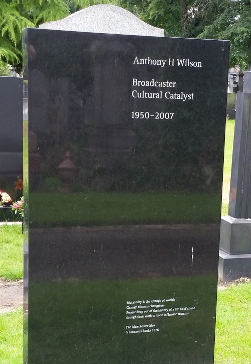 Headstone for Tony Wilson's grave at Southern Cemetery in Chorlton