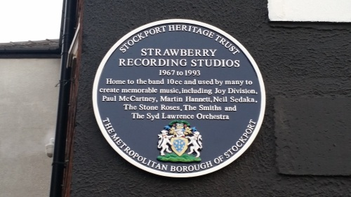 Strawberry Recording Studios updated blue plaque in Stockport