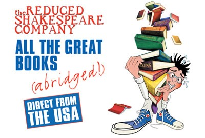 Promotional material for All The Great Books (Abridged!) show by Reduced Shakespeare Company