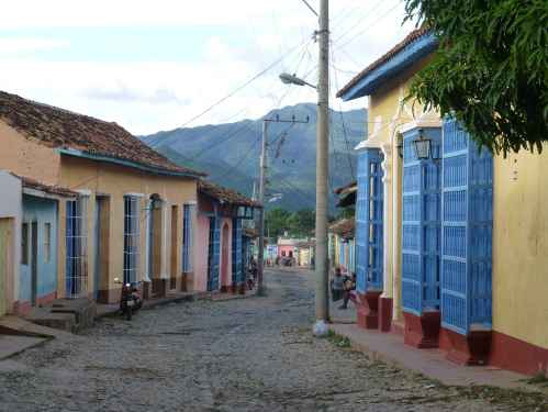 Typical street scene in the picturesque Cuban town of Trinidad